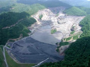 Brushy Fork impoundment on the the west side of Coal River Mountain, WV; built to hold 8 billion tons of coal sludgel