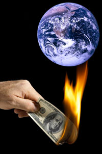 money burning earth