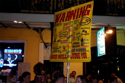 Sign carried by religious picketers during Mardi Gras 2011