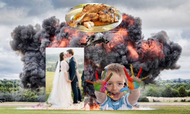 Explosion with wedding, child, and plate of BBQ superimposed