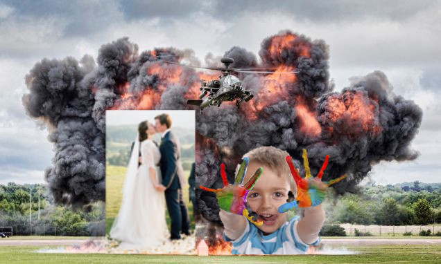 Explosion with wedding and child superimposed