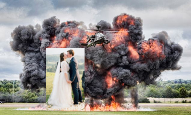 Explosion with wedding superimposed