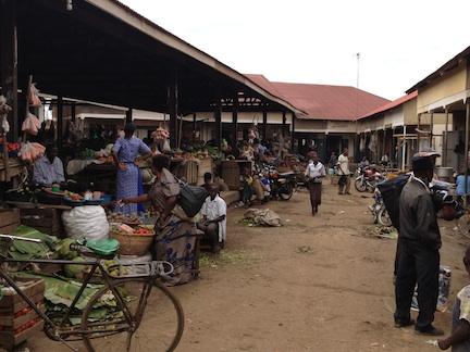 One of the thoroughfares around the market