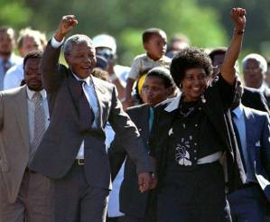 Nelson Mandela emerging from Victor Verster Prison, 11 February 1990, Reuters