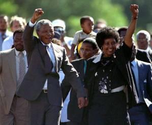 Nelson Mandela emerging from Victor Verster Prison, 11 February 1990, Reuters