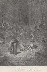 Sepulchers of flame in The City of Dis, by Gustave Dore (Project Gutenberg)
