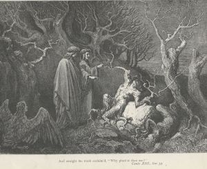 The Wood of the Suicides, by Gustave Dore (Project Gutenberg)