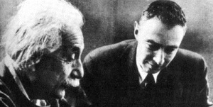 Albert Einstein and Robert Oppenheimer, director of the Manhattan Project.