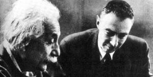 Albert Einstein and Robert Oppenheimer, director of the Manhattan Project.