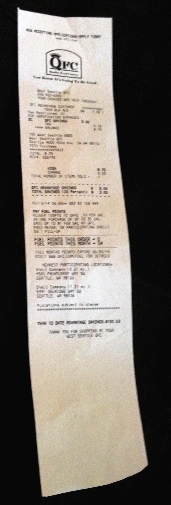 QFC receipt