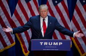 Donald Trump announces his candidacy for  president during a rally at his Trump Tower on Fifth Avenue in Manhattan, New York, on Tuesday June 16, 2015. Mr. Trump also announced the release of a financial statement that he says denotes a personal net worth of over 8 billion dollars.