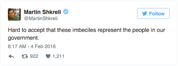 Shkreli Congress tweet