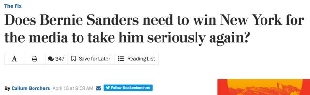 Washington Post Bernie headline