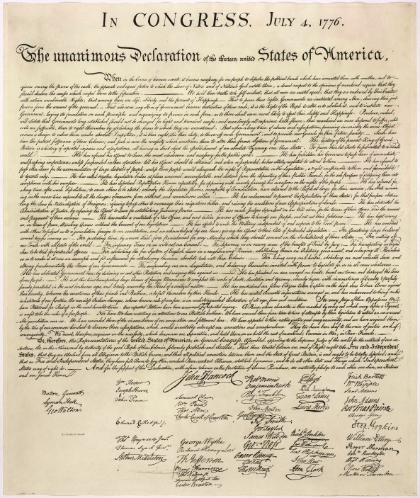 Engraving of the Declaration of Independence (image credit: Monticello.org)