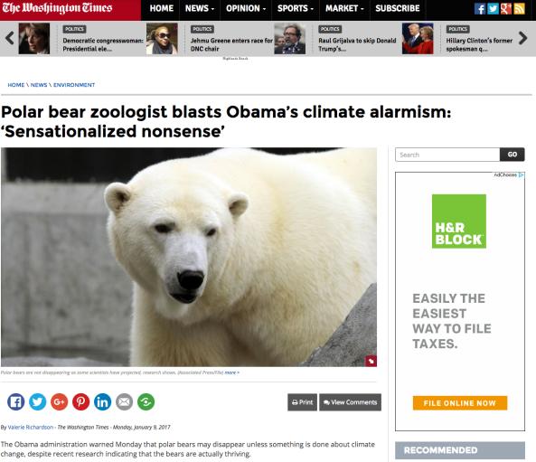 Washington Times Polar Bear Story