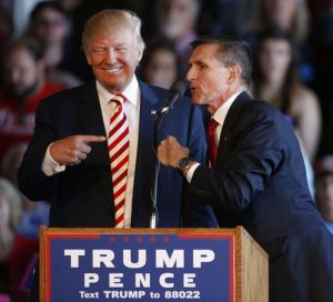 Donald and Michael Flynn during the campaign (image credit: Yahoo News)
