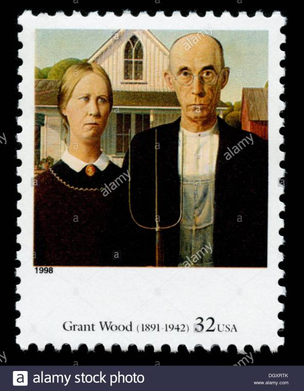us-postage-stamp-depicting-the-american-gothic-painting-by-grant-wood-dgxrtk
