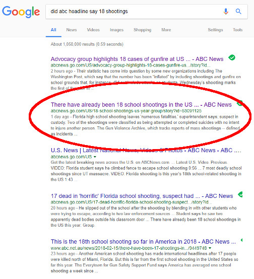 Screen shot of Google search results