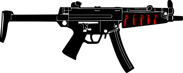 """Assault weapon"" clipart with the word ""scary"" on it"