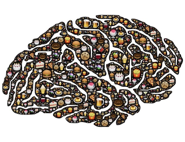 Human brain embellished with pictures of junk food