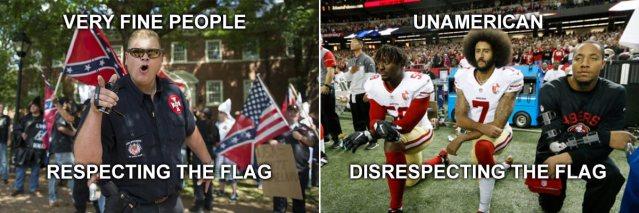 Kaepernick vs very fine people respect-the-flag