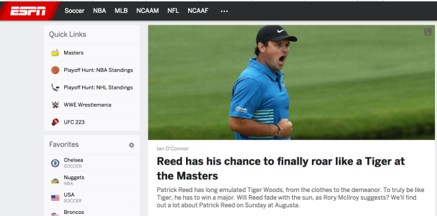 ESPN sucks Tiger Woods' dick