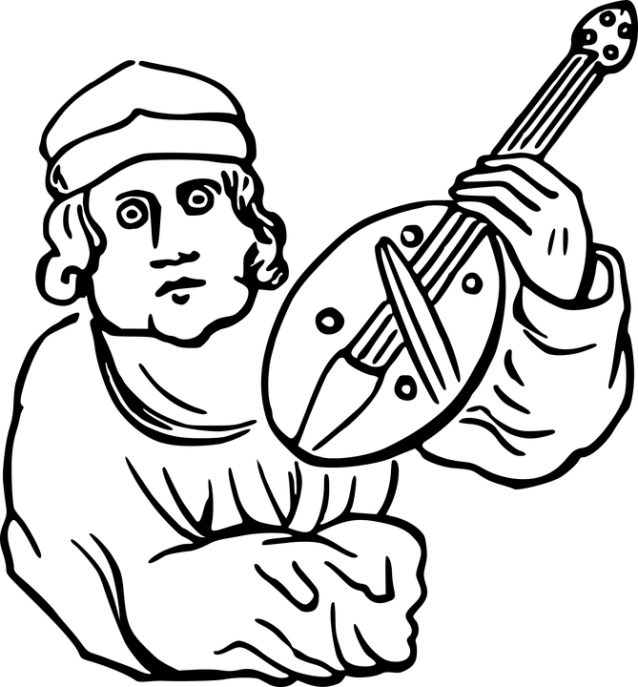 clip art of bard with lute