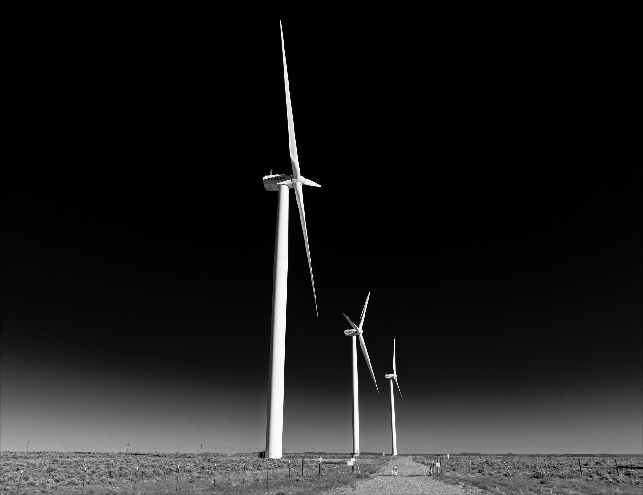 wind turbines sky road