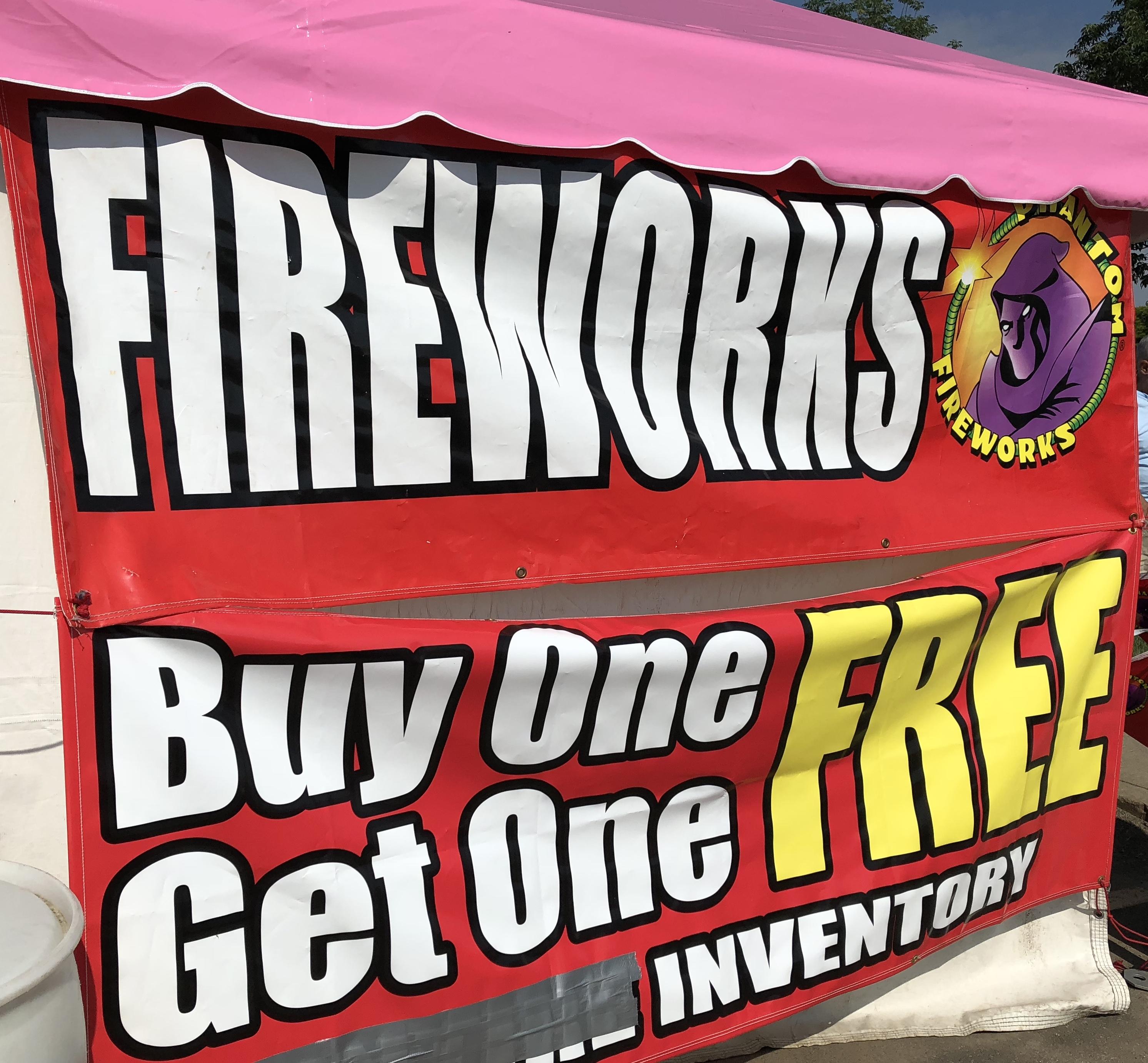 sign for fireworks