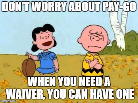charlie brown and lucy meme, football about to be pulled away re: pay-go waivers