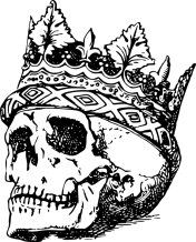 Black and white line drawing of crowned skull